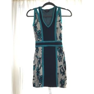 Ivory & turquoise floral mini dress by Bebe
